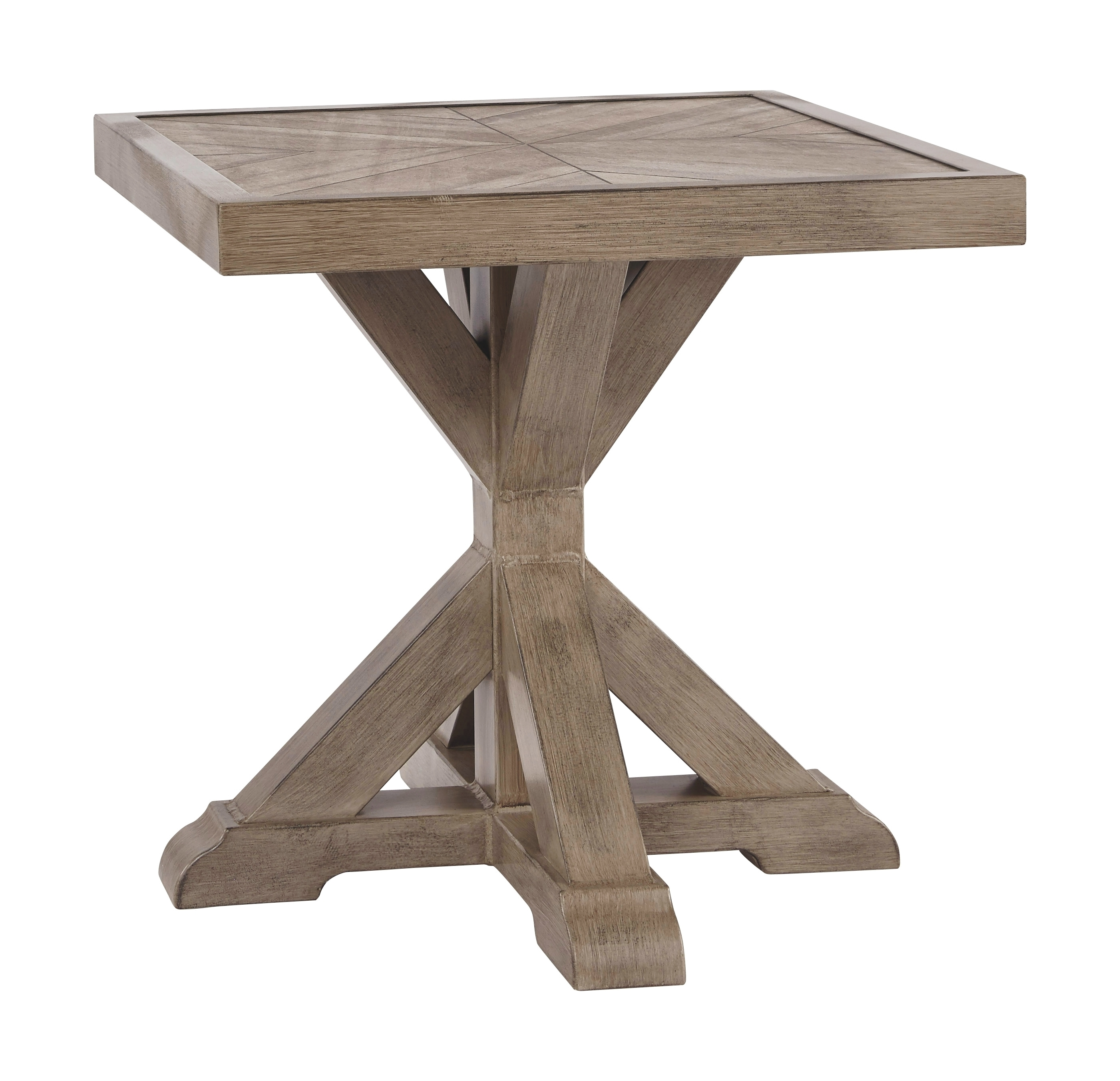 Beachcroft - Beige - Square End Table - Furniture Innovation on Beachcroft Beige Outdoor Living Room Set id=45132