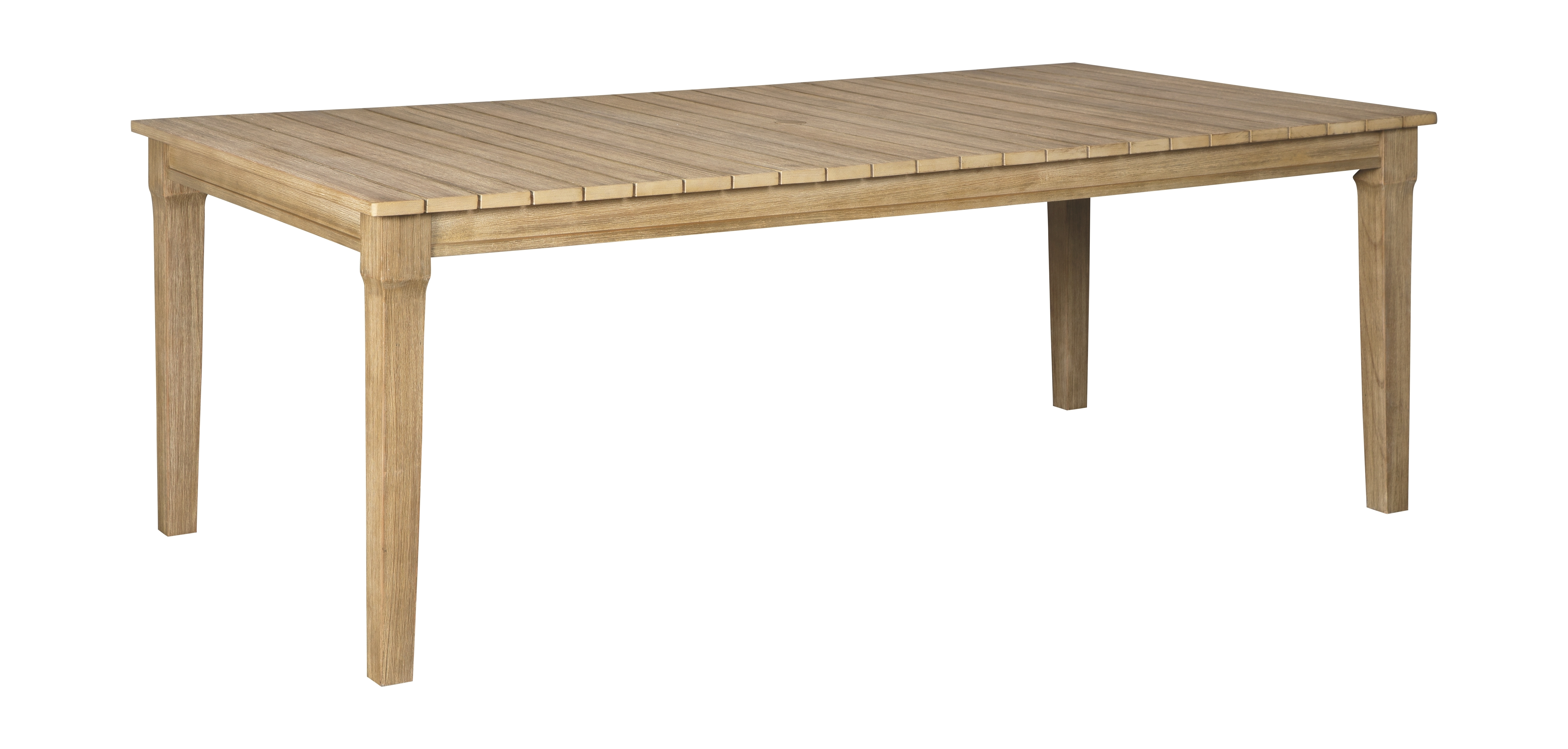 Clare View - Beige - RECT Dining Table w/UMB OPT ... on Clare View Beige Outdoor Living Room id=66583
