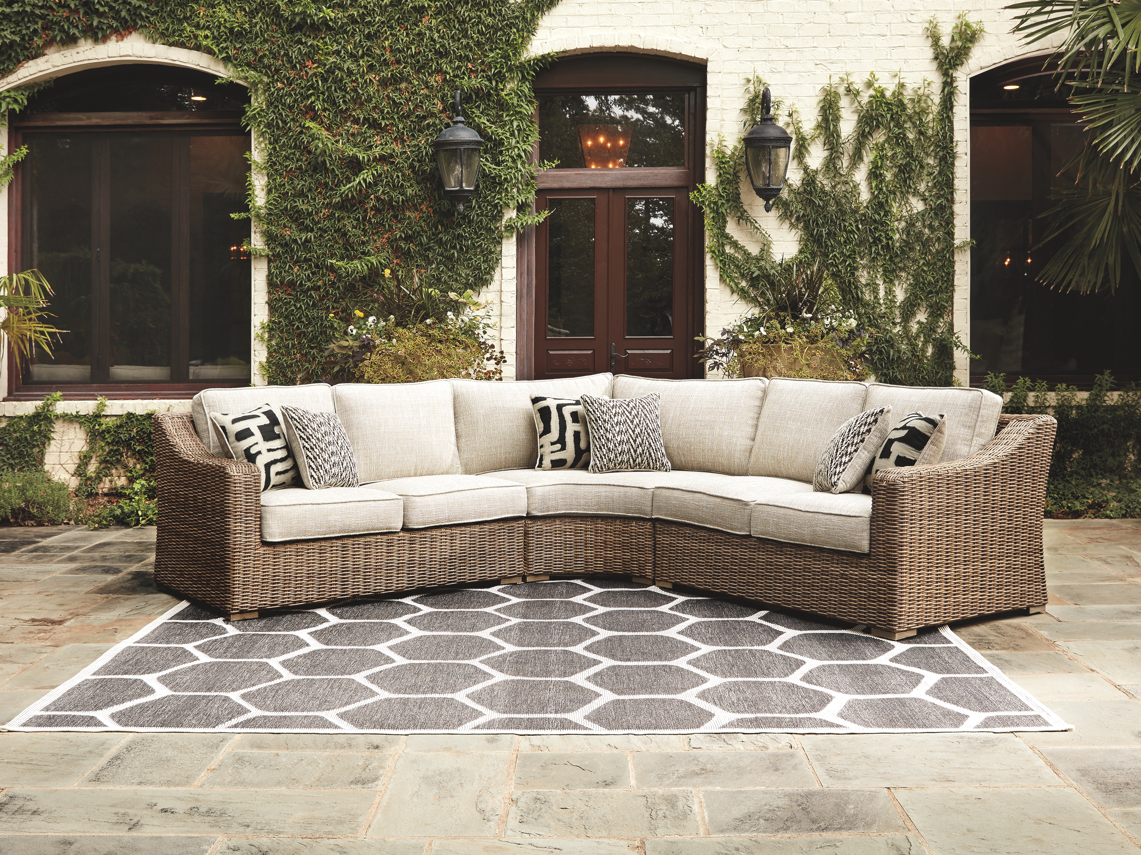 Beachcroft - Beige - 3 Pc. - Sectional Lounge - Furniture ... on Beachcroft Beige Outdoor Living Room Set id=38629