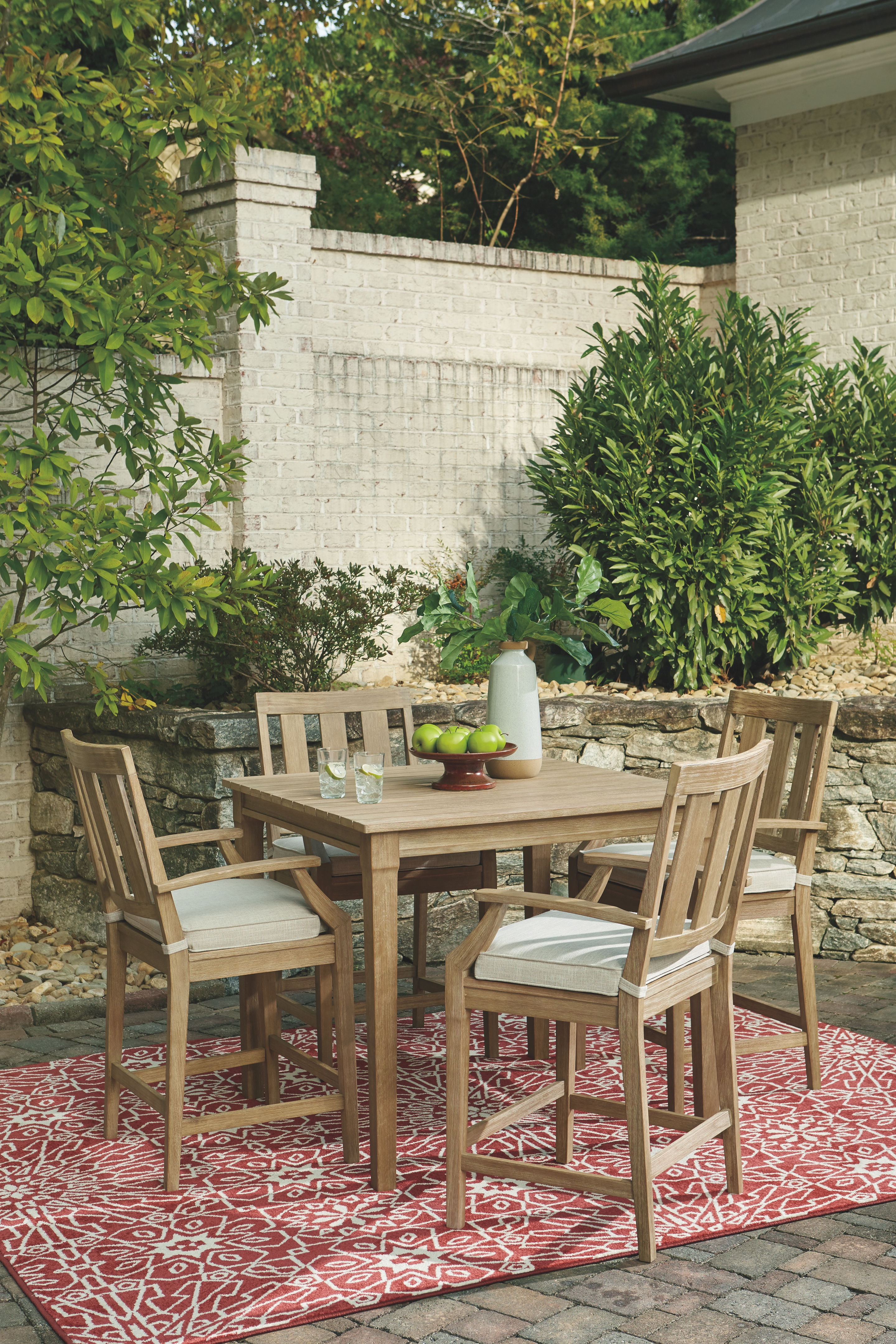 Clare View - Beige - Square Bar Table & 4 Barstools ... on Clare View Beige Outdoor Living Room id=28913